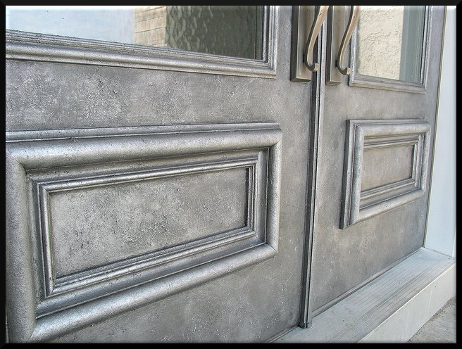 Our clients chose to make their fiberglass doors look like iron.