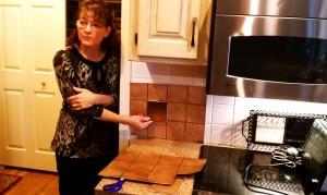 Brenda showing tile samples