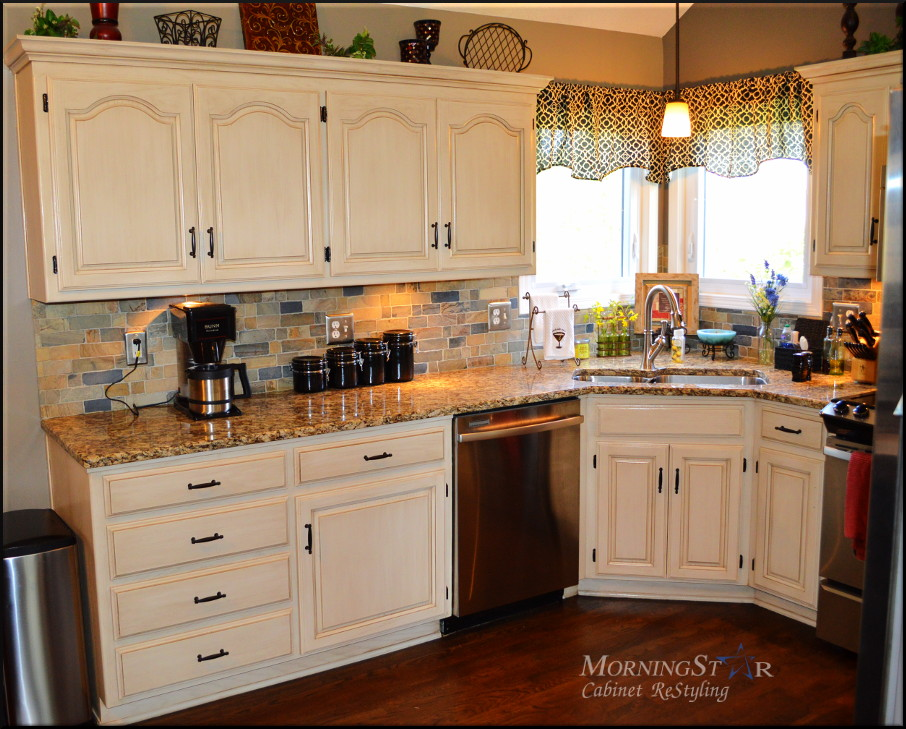 This Kansas City kitchen cabinet was Golden Oak and now refinished with paint and glaze.