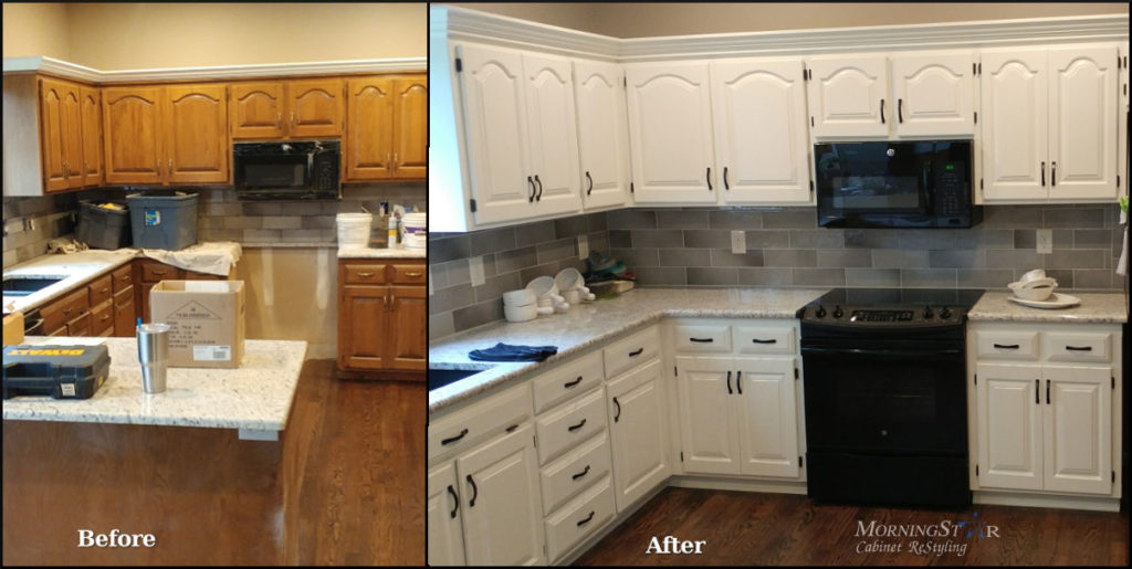 Painted cabinets refinished in Kansas City