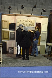 Cabinet refinishing samples in Home Show