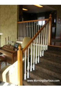 Handrail before refinishing