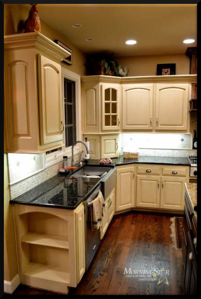 Painted and glazed kitchen cabinets in a kitchen west of Kansas City
