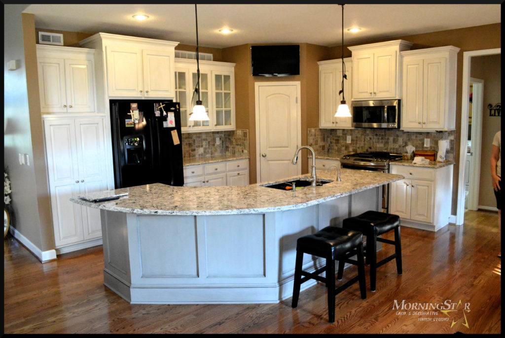 Kansas City kitchen cabinet, island and pantry door refinished by MorningStar