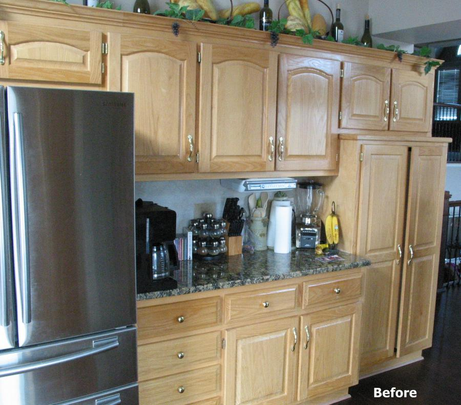 Cabinet refinishing before and after for How to redo your kitchen