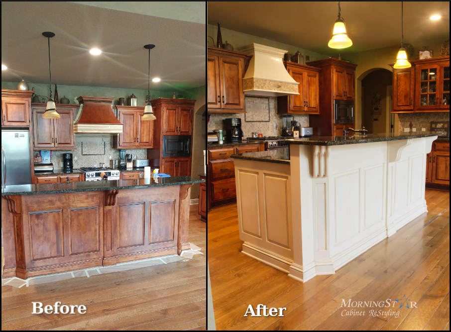 Kitchen island refinish before and after Kansas City cabinets