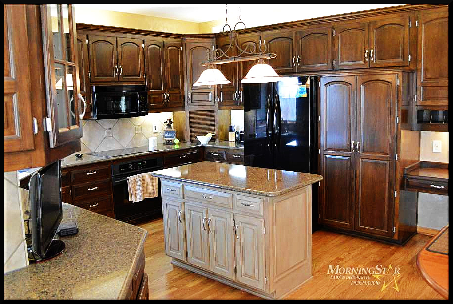 Golden Oak cabinets are all over Kansas City. Here is a mix of our over glaze process and a painted island.