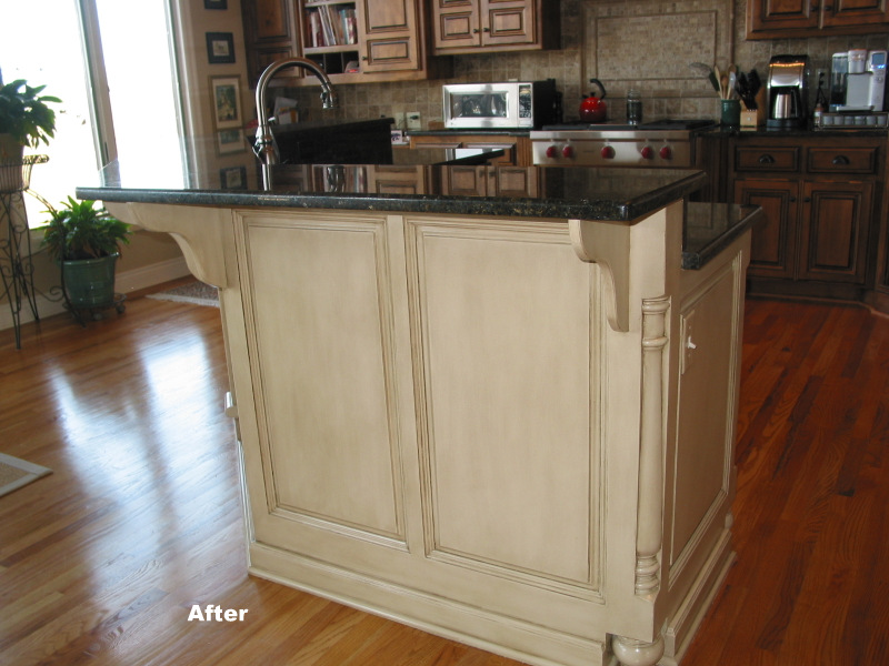 Kansas City cabinet refinish on kitchen island