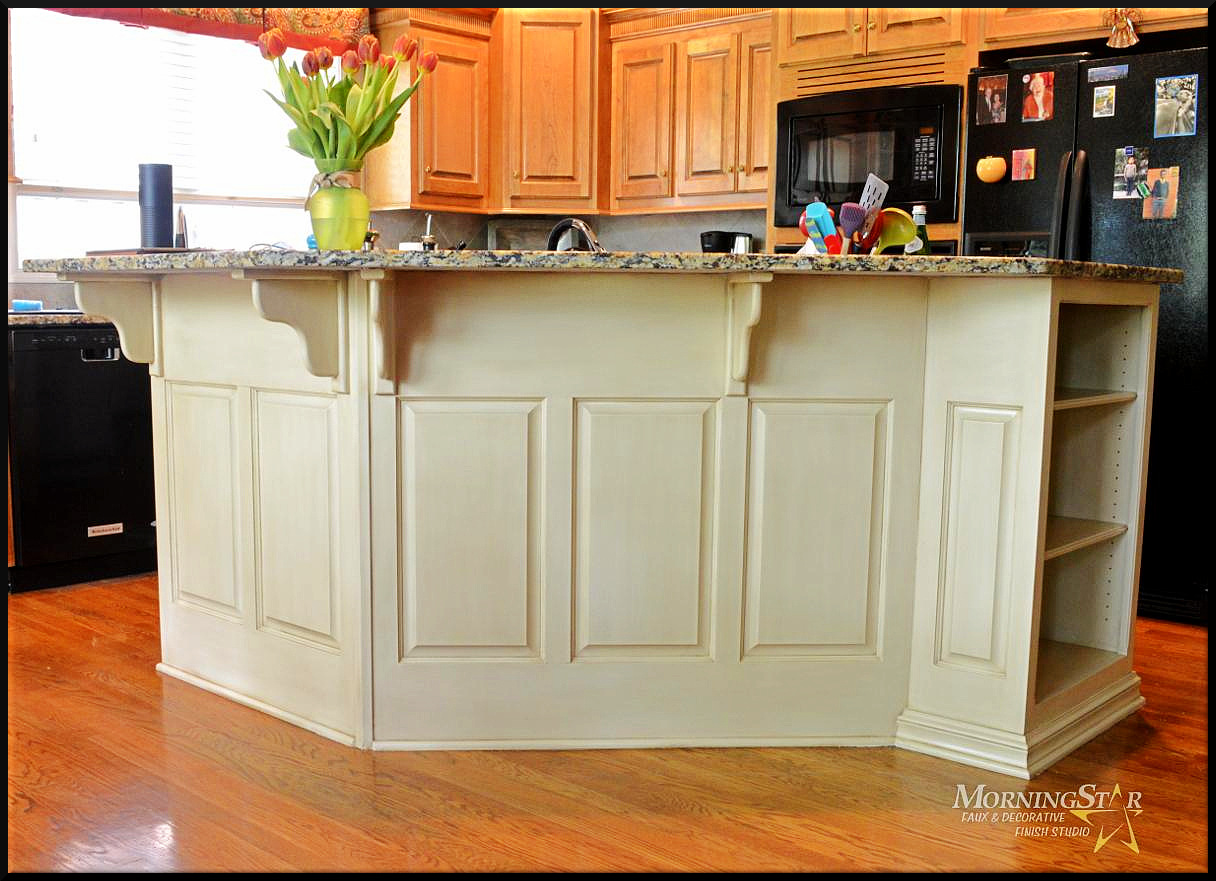 Island cabinet refinish with off-white paint and a light glaze.