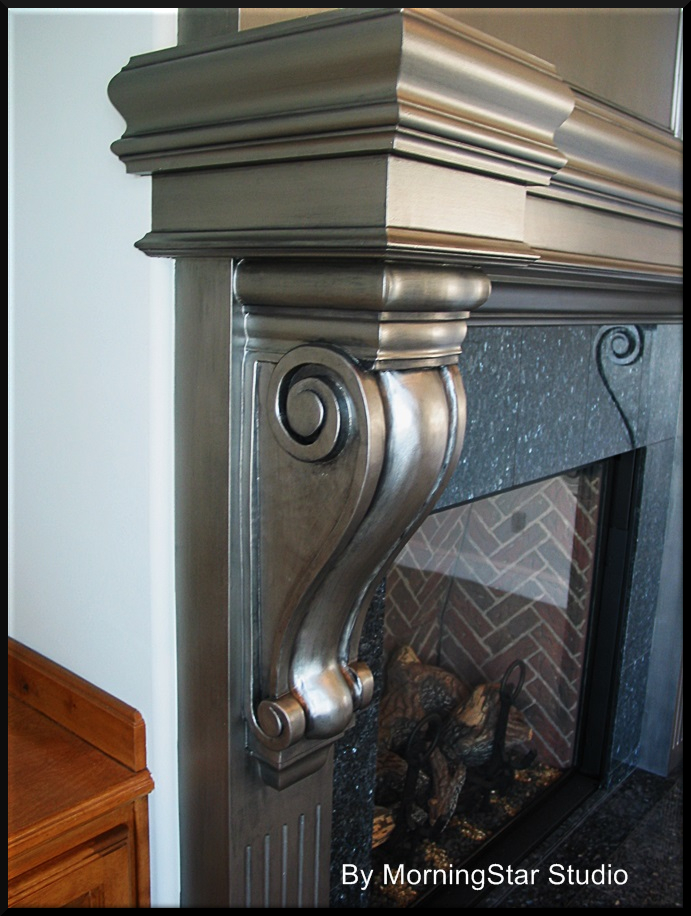 Contemporary finish on a fireplace mantle. Silver metallic with a black glaze.