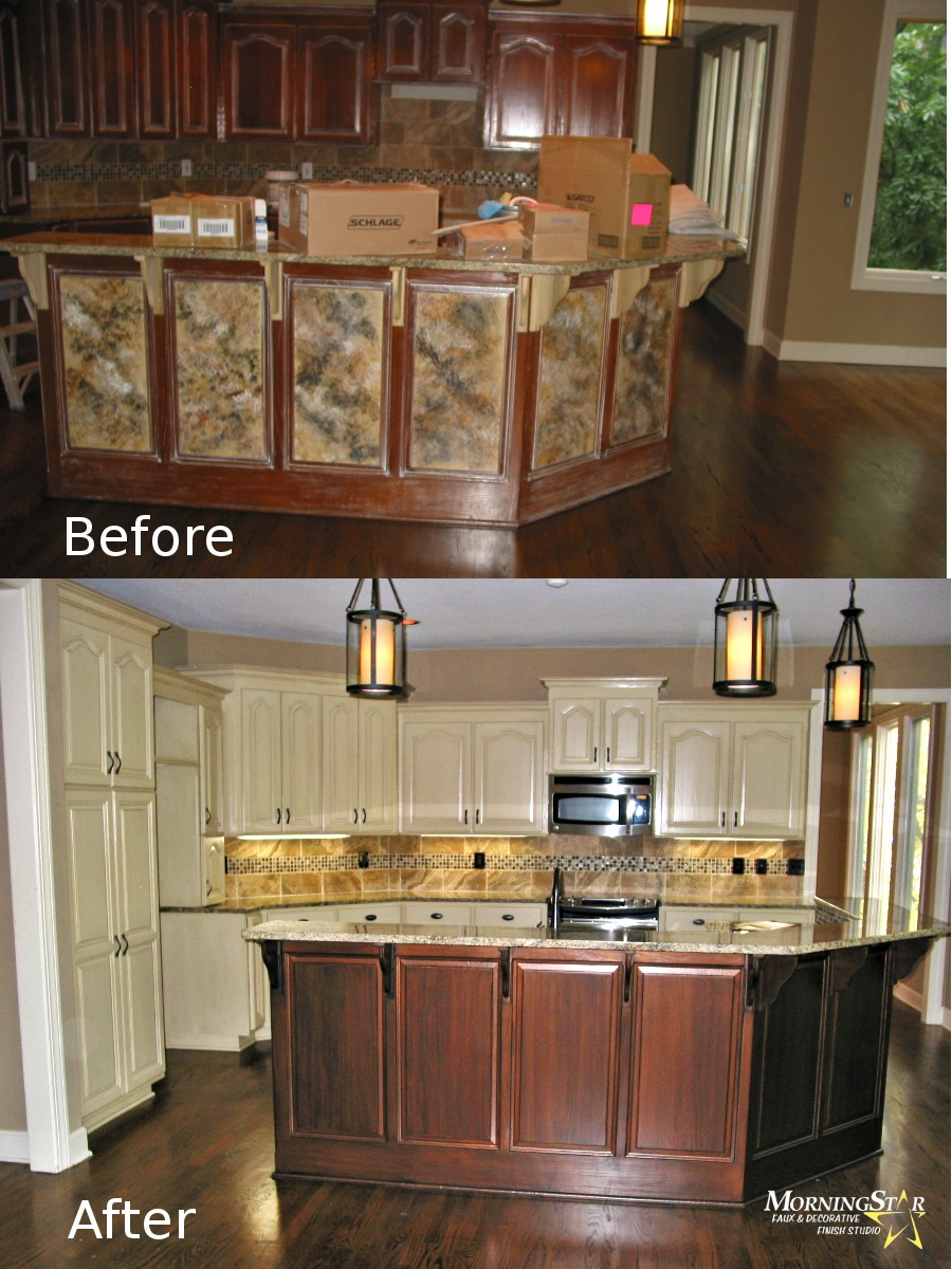 Cabinet refinishing before and after for Kitchen cabinets johnson city tn