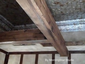 Woodwork finish with faux age and distress
