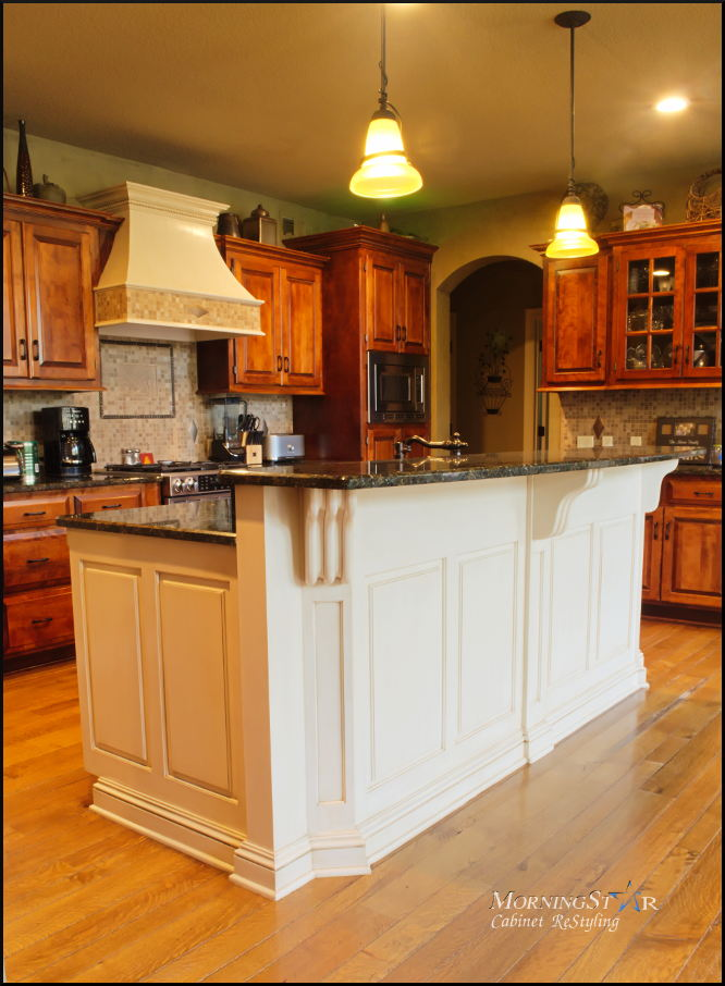 Kitchen island cabinet refinishing in Kansas City